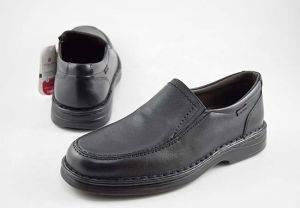 Zapato mocasín ancho especial piel Tolino A6370 negro