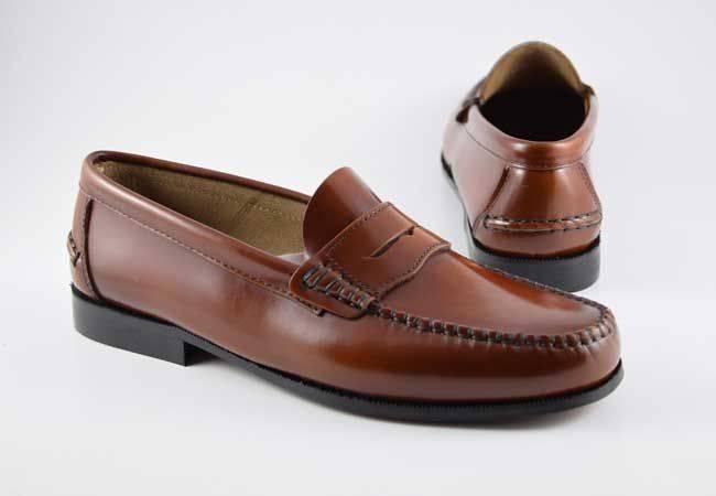 Zapato castellano marrón cuero antifaz hombre