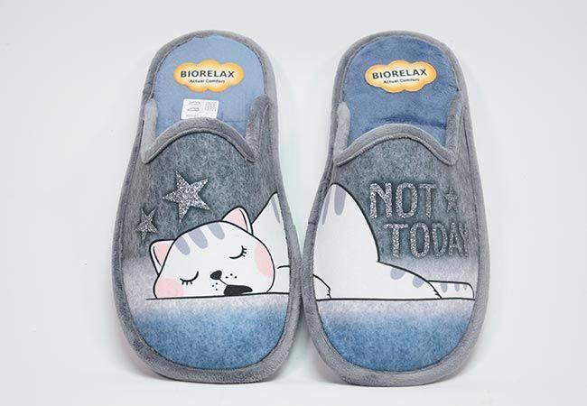 Zapatilla casa destalonada gato Biorelax 4581 gris