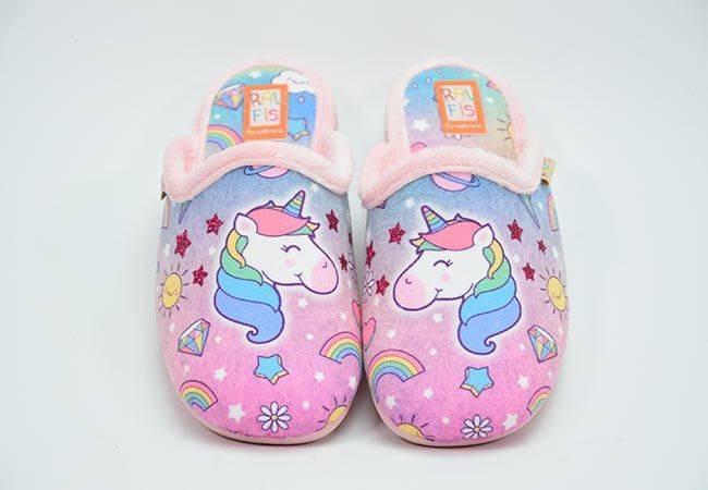 Zapatilla casa destalonada unicornio Ralfis 8416 rosa